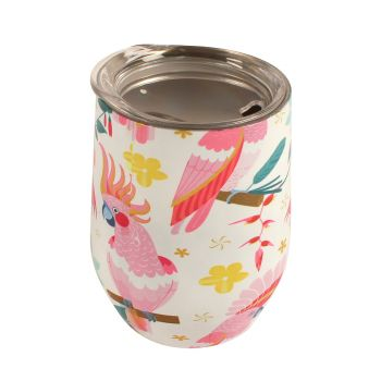 Coffee Cup Double Walled Rose Cockatoo