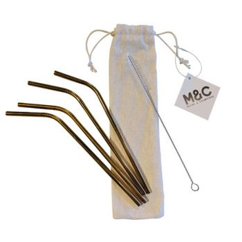 4PK Curve Stainless Steel Straws Gold