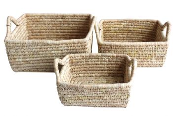 Set of 3 Elli Seagrass and Date Leaf Baskets with Handles 35x30x16cm