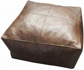 Bangalow Square Ottoman With Fill Tan Pu Leather 60x60x30cm
