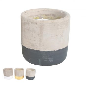 Panema Citro Candle In Cement Pot Painted Bottom
