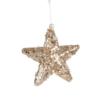 Encrusted Sequin Star Hanging Christmas Tree Décor