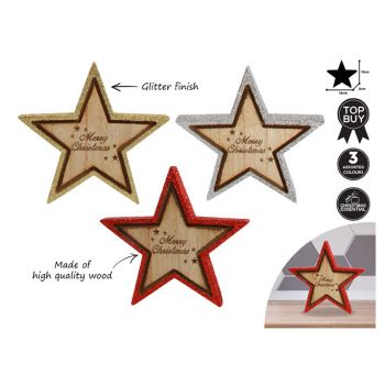 Wood Glitter Star 3 Assorted Colours