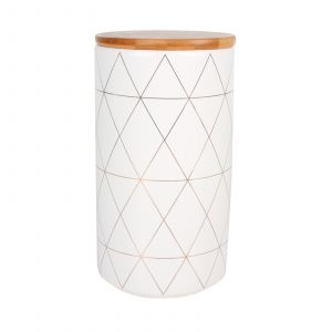 Gio Ceramic Canister with Bamboo Lid Black Print 960ml
