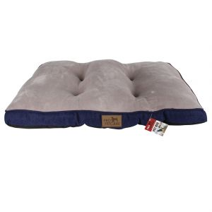 Blue Pet Bed Quilted Plush Top Linen Bottom 80X55X6