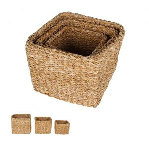 Scarborough Sea Grass Square Mini Cylinder Baskets Set of 3