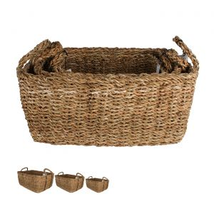 Bribie Seagrass Rectangle Basket With Handle Set of 3